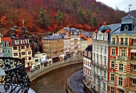 KARLOVY VARY, CZECH REPUBLIC: Viewing the city from a balcony of the Grand Hotel Pupp.
